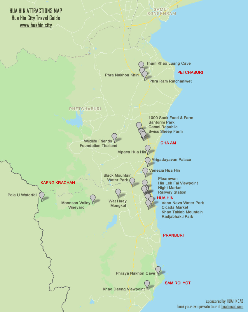 Hua Hin and Cha Am Attractions Map | Hua Hin Travel Guide Valley Map Of Attractions on